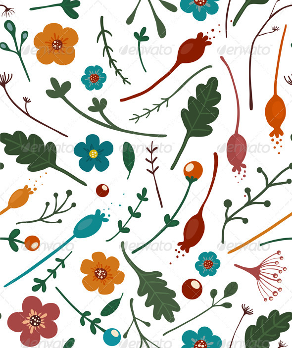 GraphicRiver Flowers Leaves and Berries Seamless Pattern 6966079
