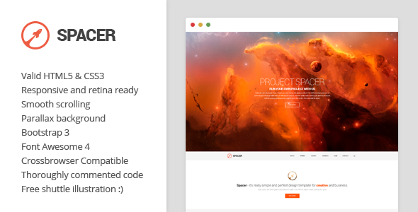 Spacer - Parallax One Page HTML5 Template - Portfolio Creative