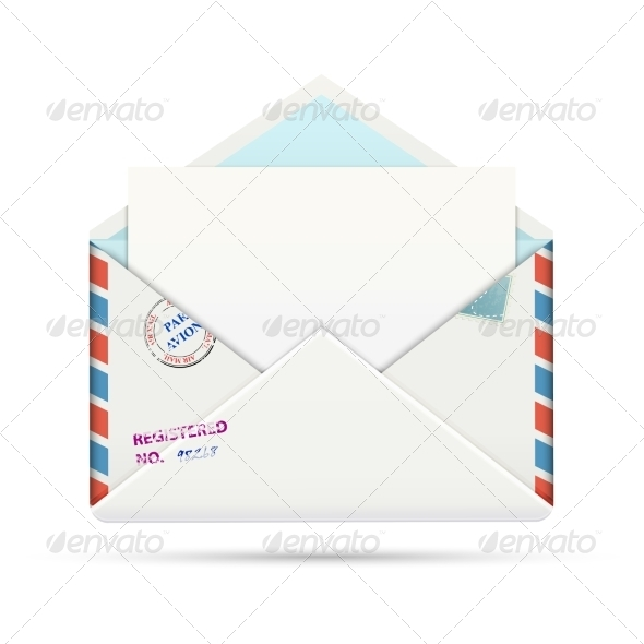 GraphicRiver Open Old-fashioned Airmail Paper Envelope 6969484