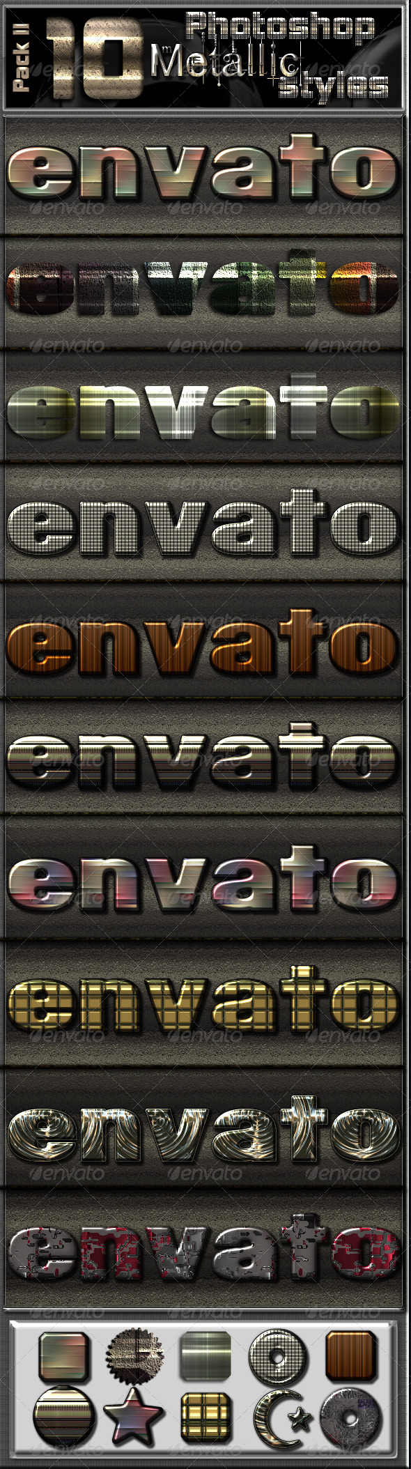 GraphicRiver 10 Metallic Photoshop Text Effects-Pack II 6972595