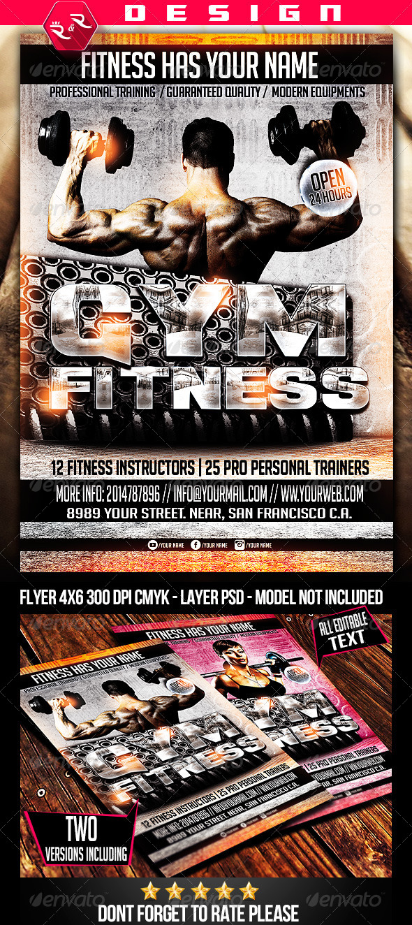 GraphicRiver Fitness Gym Flyer Template 6972760