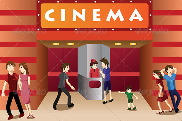 GraphicRiver People Hanging Out Outside a Movie Theater 6974089