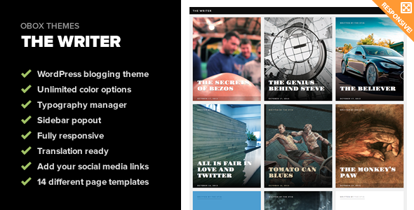 The Writer - Premium WordPress Blogging Theme - Personal Blog / Magazine