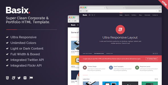Basix - Super Clean Corporate HTML Template - Business Corporate