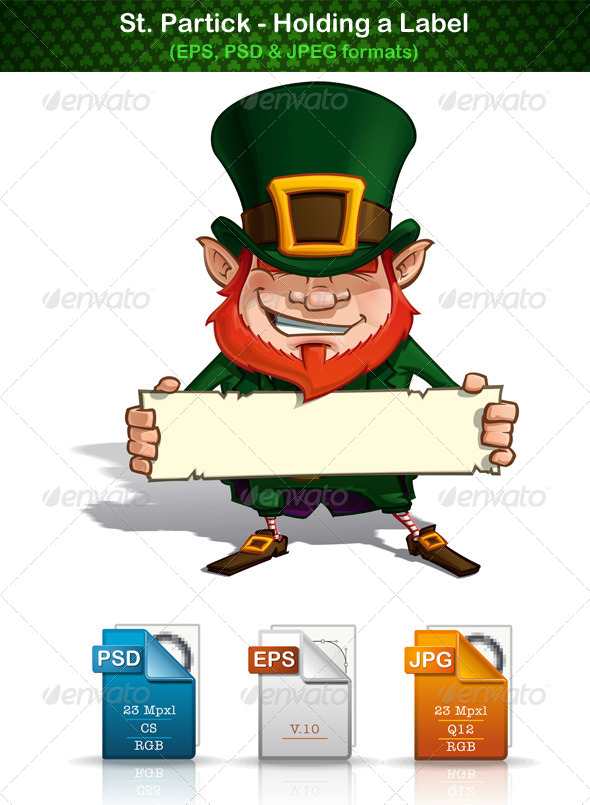 GraphicRiver St Patrick Holding a Label 6976748