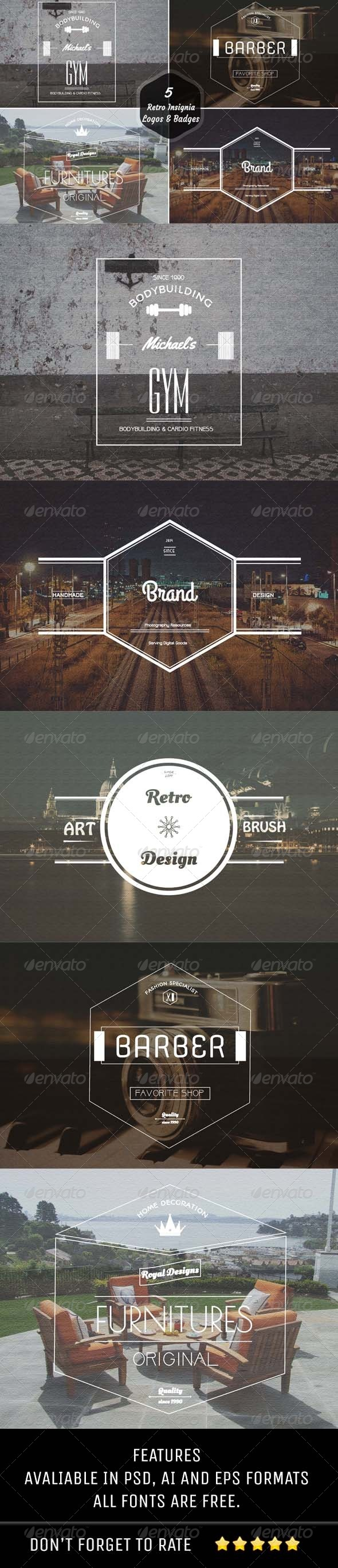 GraphicRiver 5 Retro Insignia Logos & Badges 6976792