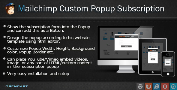 CodeCanyon Mailchimp Custom Popup Subscription for OpenCart 6978116