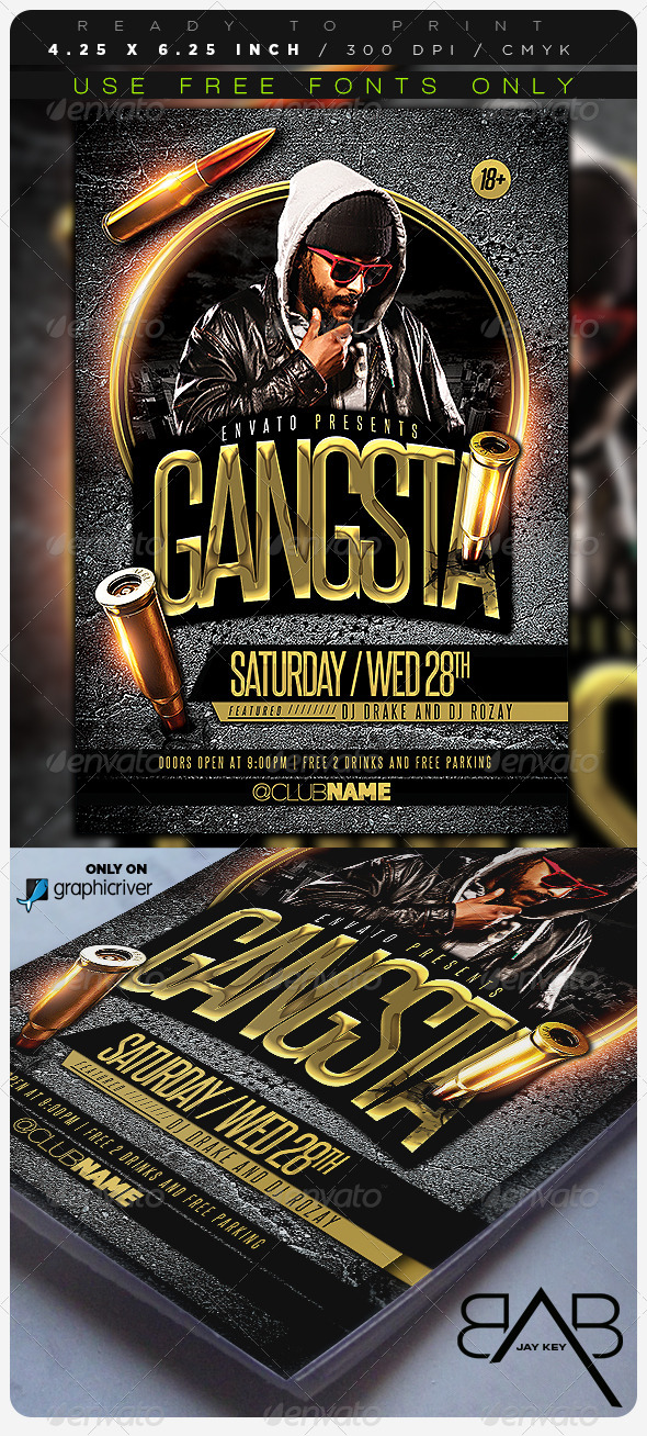 GraphicRiver Gangsta Music Party Flyer 6961740