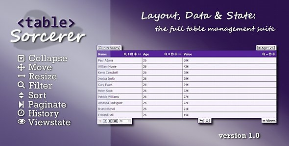 CodeCanyon Table Sorcerer jQuery UI Table Management Suite 6871589