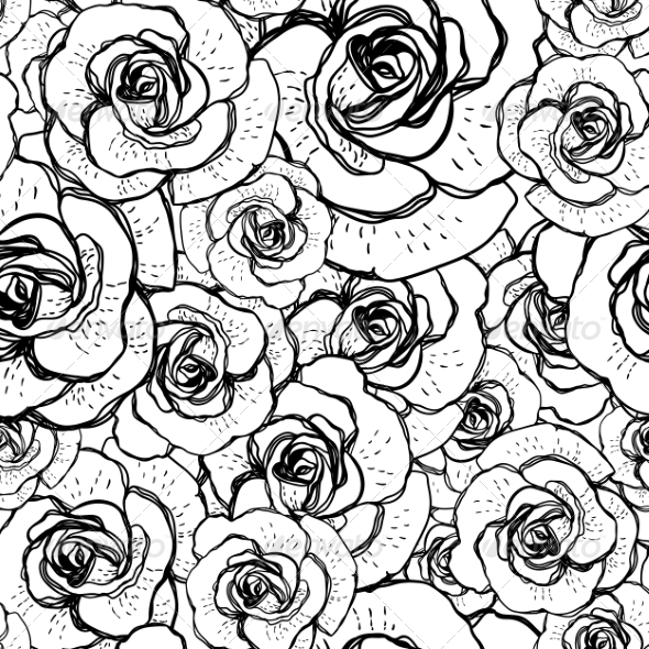 GraphicRiver Seamless Black and White Background with Roses 6980731