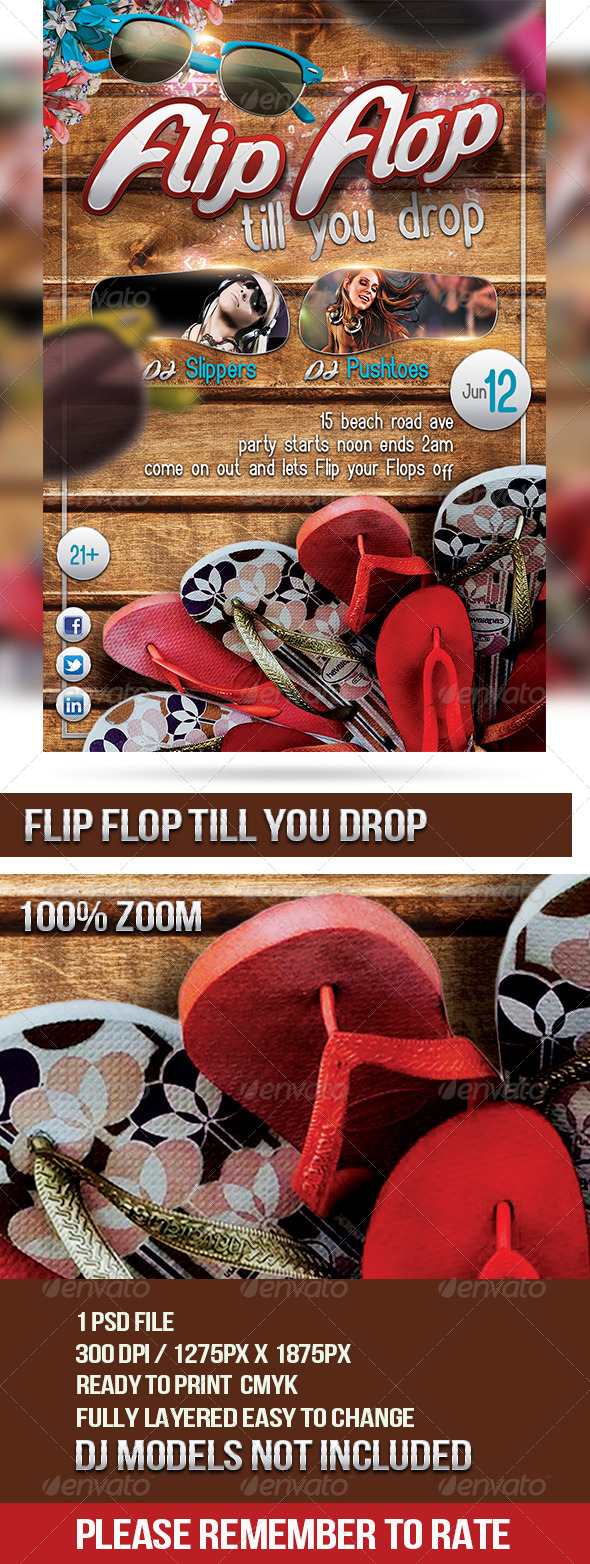 GraphicRiver Flip Flop Till You Drop 6982567