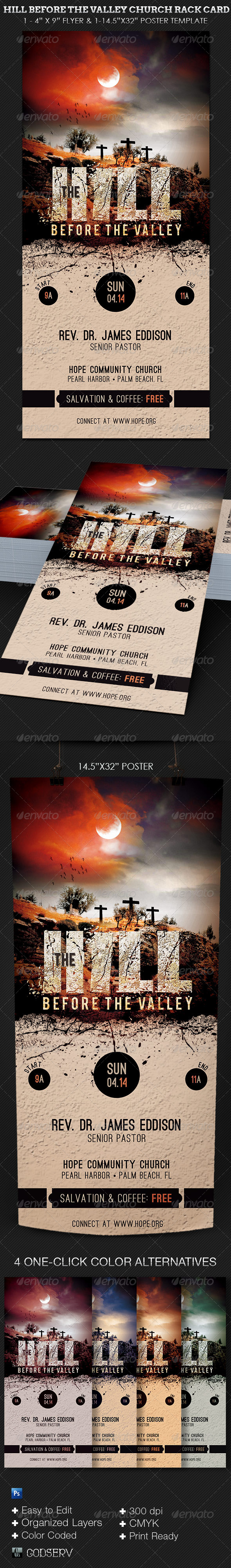 GraphicRiver Hill Before The Valley Church Rack Card Template 6982776