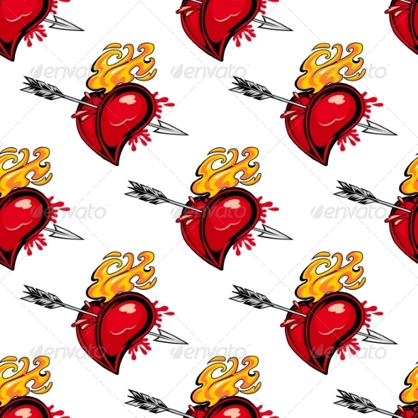 GraphicRiver Pattern of a Flaming Heart Pierced by an Arrow 6982920