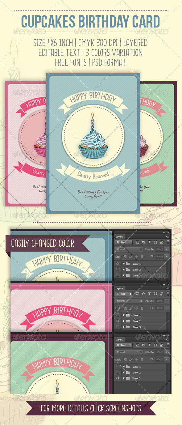 GraphicRiver Cupcakes Birthday Card 6984409