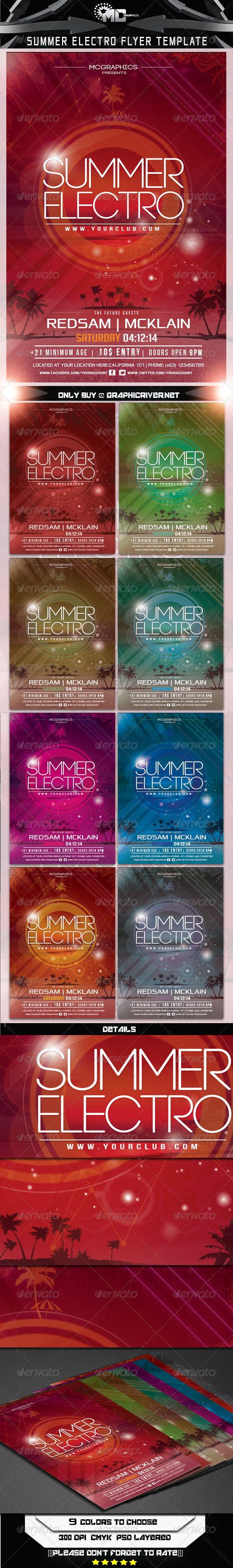 GraphicRiver Summer Electro Flyer Template 6984723