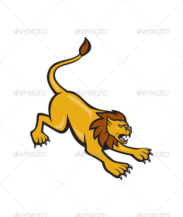 GraphicRiver Angry Lion Attacking Side 6985442