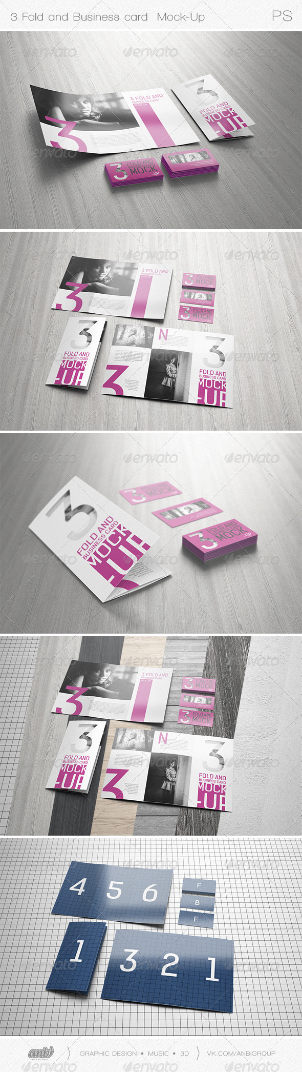 GraphicRiver 3 Fold and Business card Mock-Up 6985873