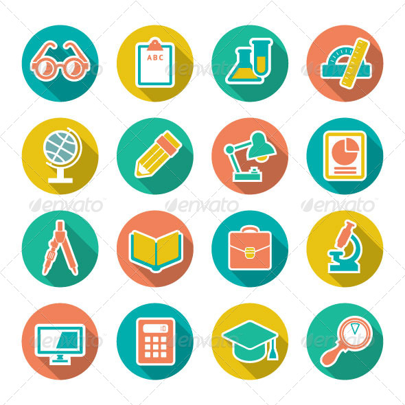 GraphicRiver Set Flat Icons of School and Education 6987419