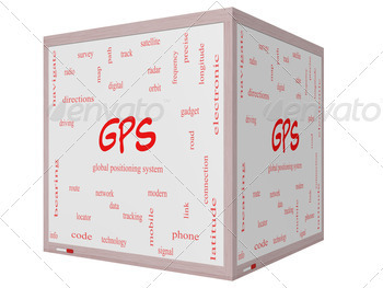 GPS Word Cloud Concept on a 3D cube Whiteboard - PhotoDune Item for Sale