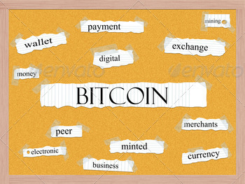 Bitcoin Corkboard Word Concept - PhotoDune Item for Sale