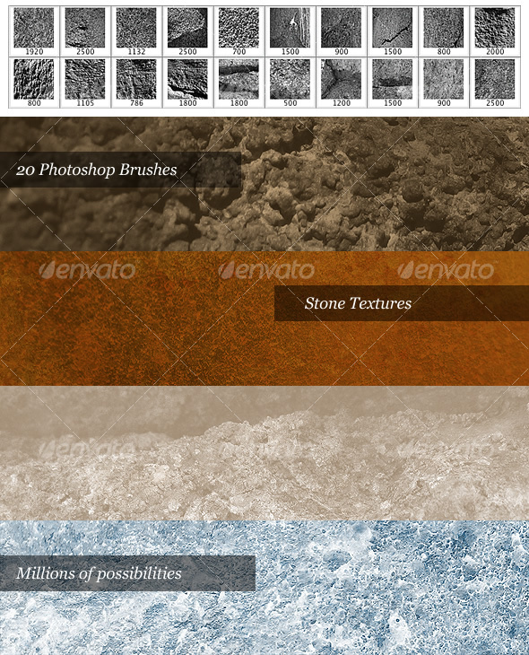 GraphicRiver Stone Brush Pack 20 Photoshop Brushes 28746