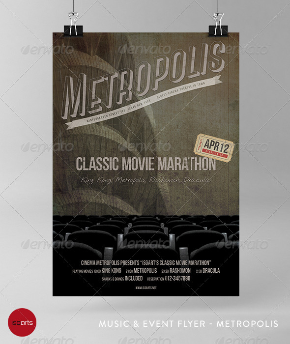 GraphicRiver Music & Event Flyer Metropolis Classic Movies 6991181