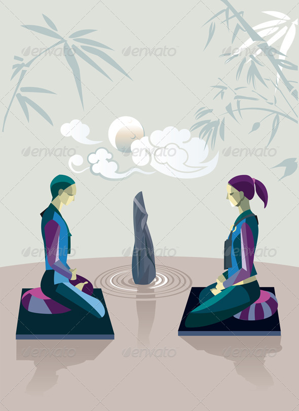 GraphicRiver Couple Practicing Zen Meditation 6991587