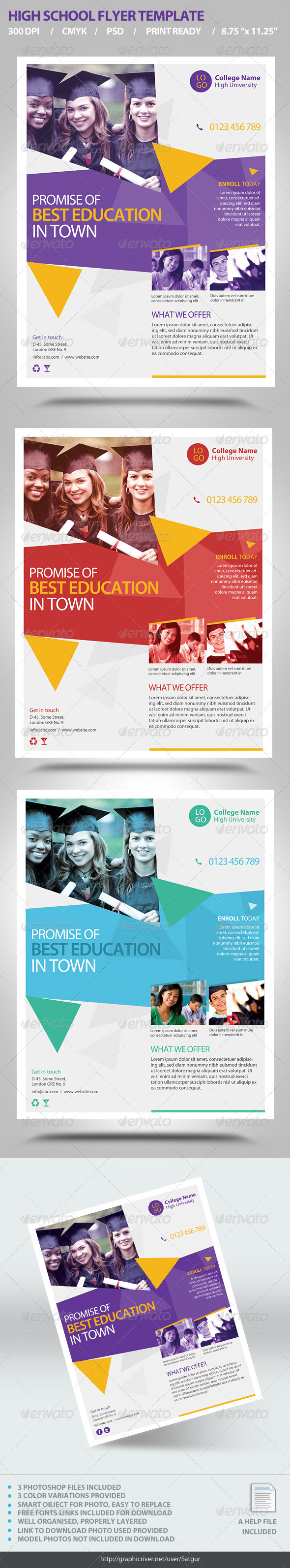 GraphicRiver High School Flyer Template 6992201