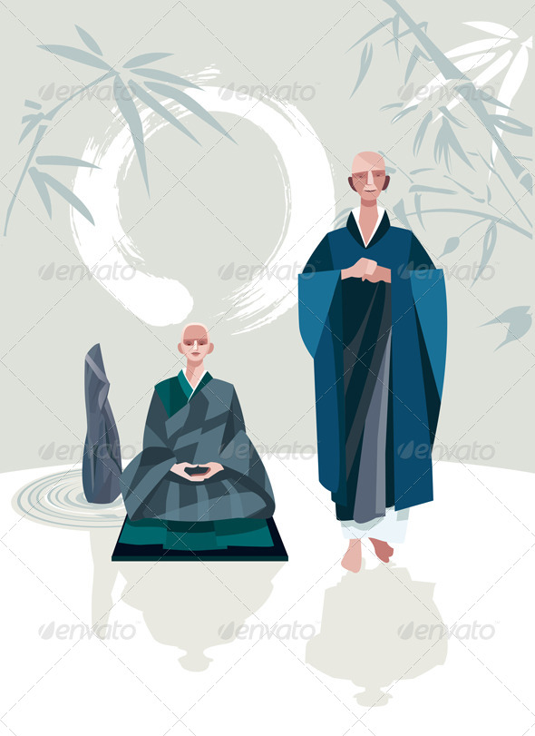 GraphicRiver Zen Master and Disciple Vertical 6992319