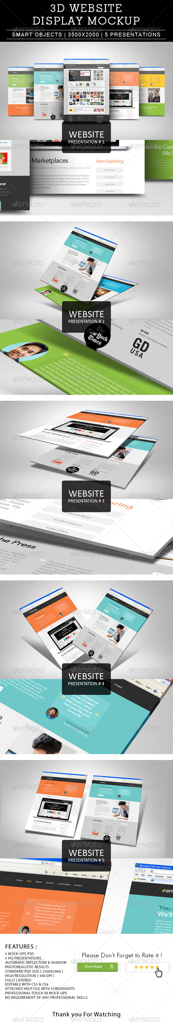 GraphicRiver 3D Website Presentation Display Mockup 6993513