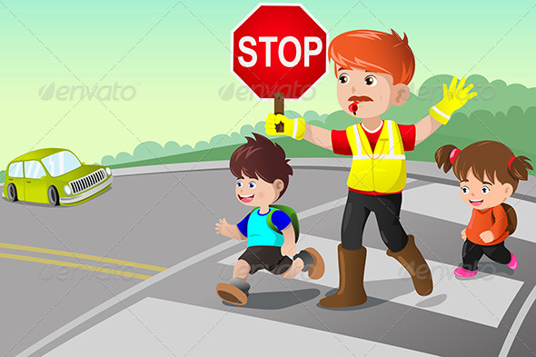 GraphicRiver Flagger and Kids Crossing the Street 6995421
