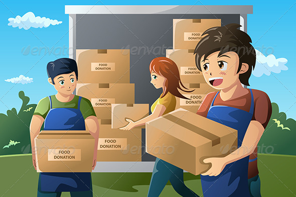 GraphicRiver Team of Volunteers Working at Food Donation Center 6995907