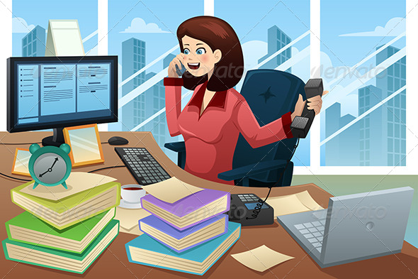 GraphicRiver Busy Businesswoman on the Phone 6996010