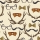 Seamless Hipster Vintage Background with Antlers - GraphicRiver Item for Sale