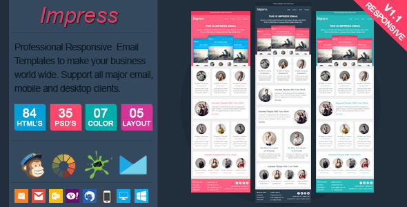 Impress - Clean Responsive Email Template - Email Templates Marketing