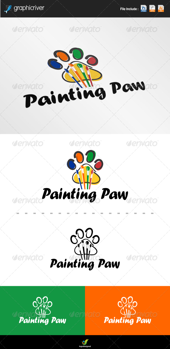 GraphicRiver Painting Paw Logo 6986064