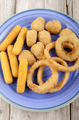 fried snack on a blue plate - PhotoDune Item for Sale