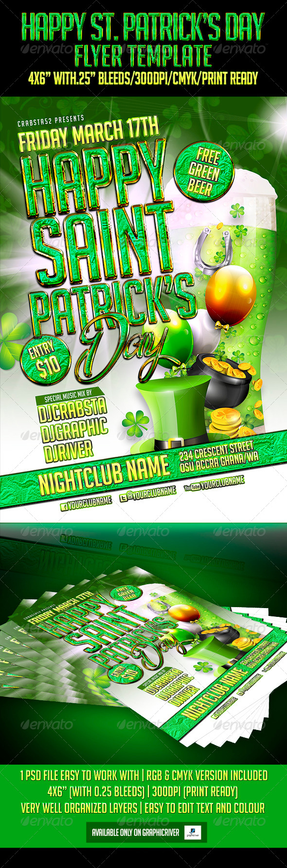 GraphicRiver Happy St Patrick s Day Flyer Template 6999756