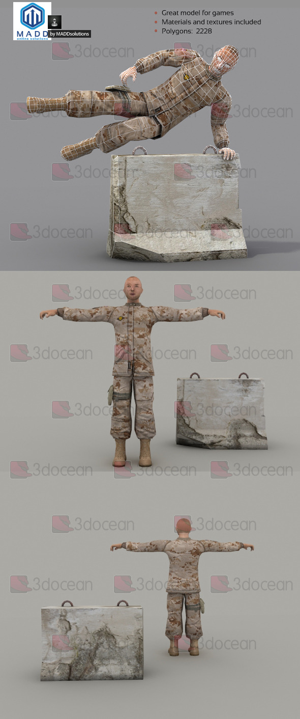 3DOcean Rigged Low Poly Soldier 6998937