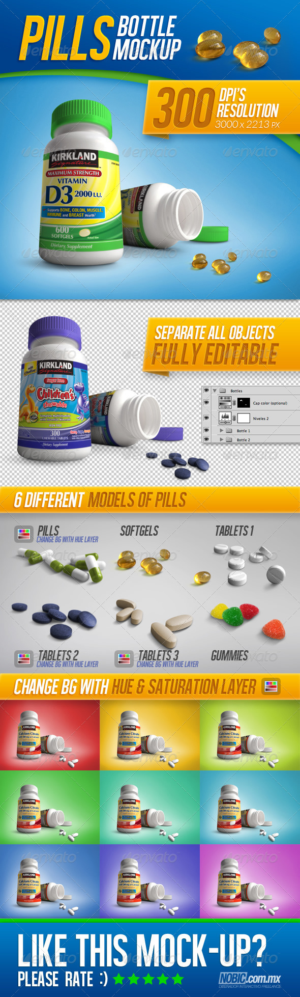 GraphicRiver Pills Tablets and Vitamins Bottle Mockup 7003759