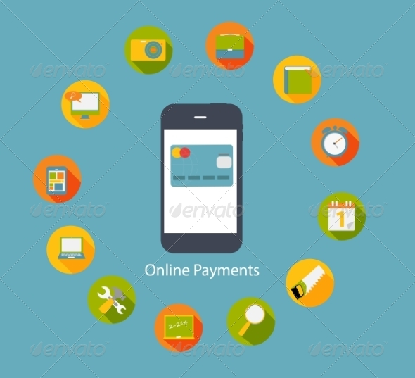 GraphicRiver Online Payments Flat Concept Vector Illustration 7005430