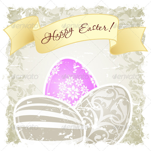 GraphicRiver Grungy Easter Background with Decorated Eggs 7006259