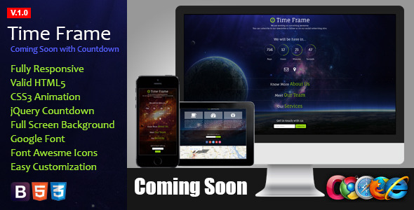 Time Frame - Responsive Coming Soon Theme - Under Construction Specialty Pages