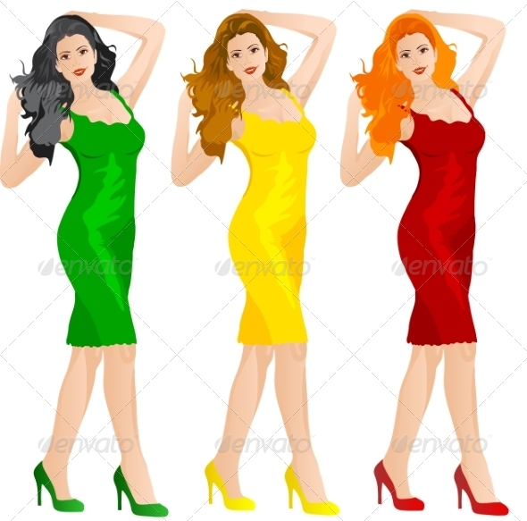 GraphicRiver Woman in Colored Dresses 7007147