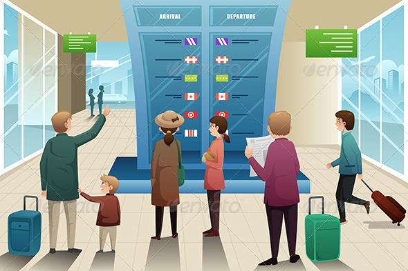 GraphicRiver Travelers Looking at Departure Board 7007814