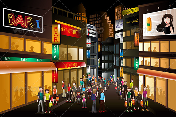 GraphicRiver People Shopping at Night 7007888