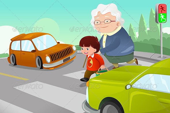 GraphicRiver Kid Helping Senior Lady Crossing the Street 7007989
