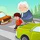Kid Helping Senior Lady Crossing the Street - GraphicRiver Item for Sale