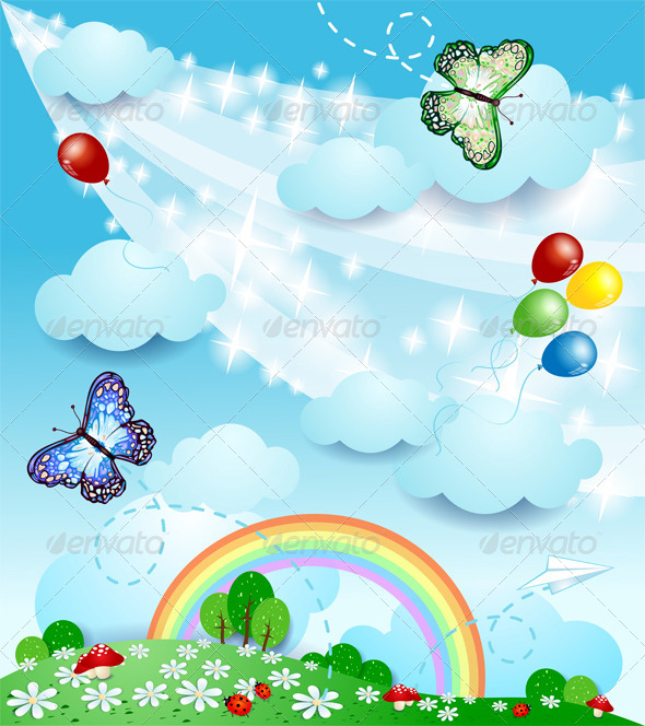 GraphicRiver Spring Background with Butterflies 7008242