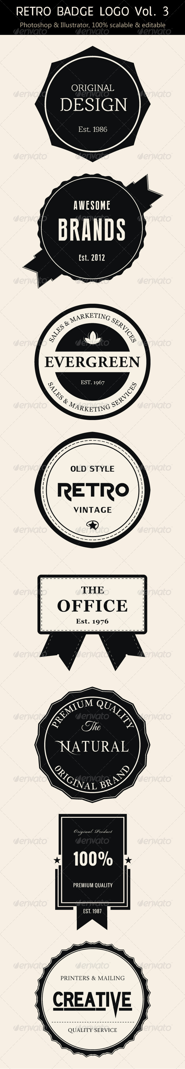 GraphicRiver Retro Badge Logo Vol 3 7003515